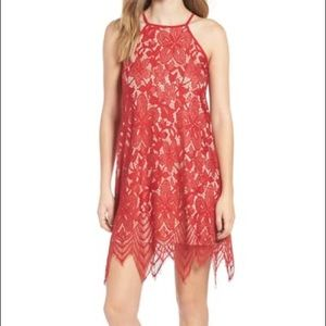 Nordstrom Red Nude Lace Shift Dress